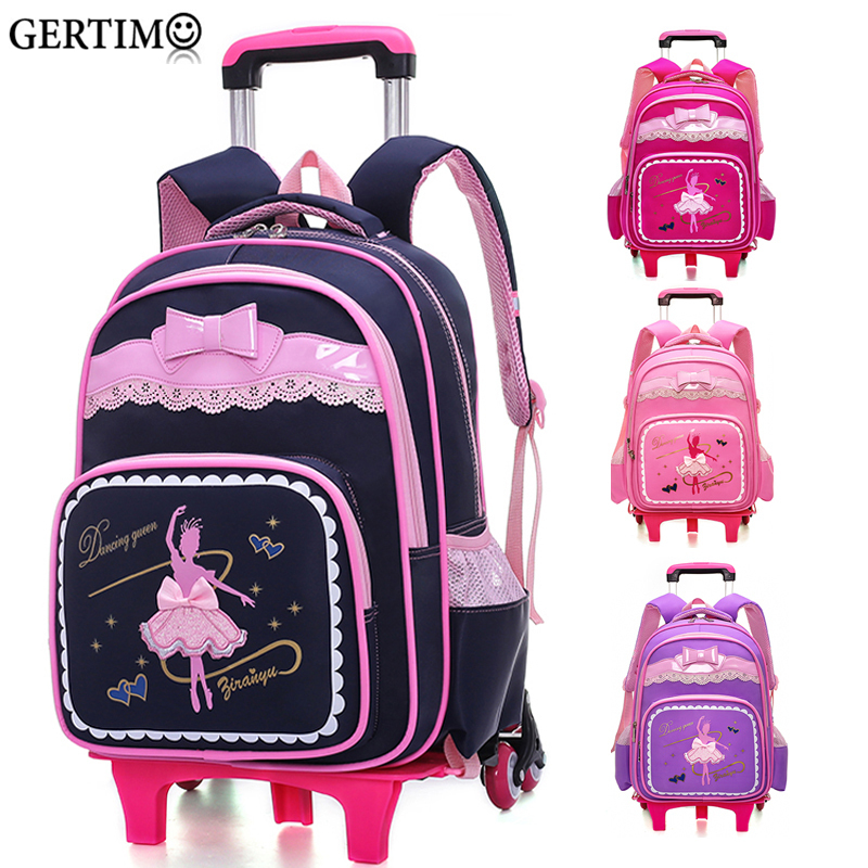 New Girl Cartoon Climb The Stairs Schoolbag Children Schoolbag with Wheels Student Travel Backpack Luggage Rolling Trolley Case-in School Bags from Luggage & Bags    1