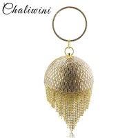 Golden Sequined Tassel Women Clutches Bags Party Metal Crystal Wedding Bridal Shoulder Wristlets Handbag Purse Evening Bags