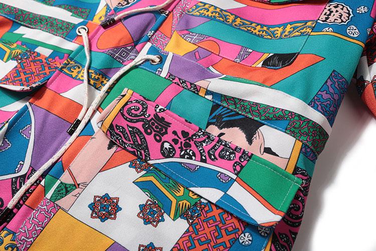 Japanese Ukiyo E Style Color Block Patchwork Jacket 7