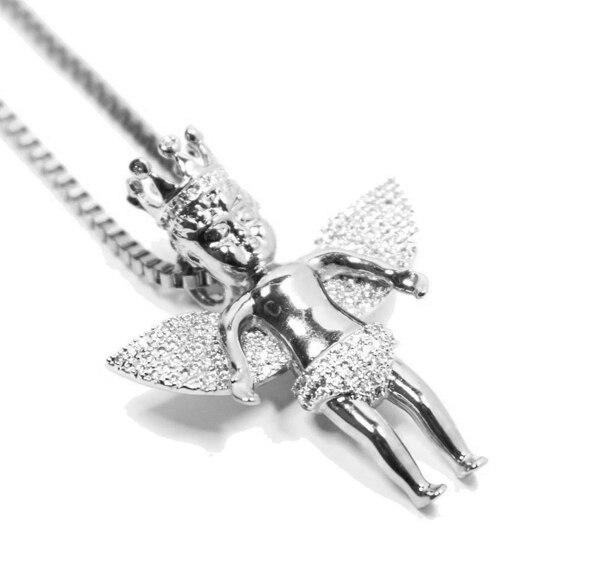 Angel Wings pendant men YELLOW Gold colors BOX chain Christian