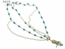 Wholesale Bohemian Korean Pearl Blue Retro Statement Headbands Hair Chain Acessories for Women