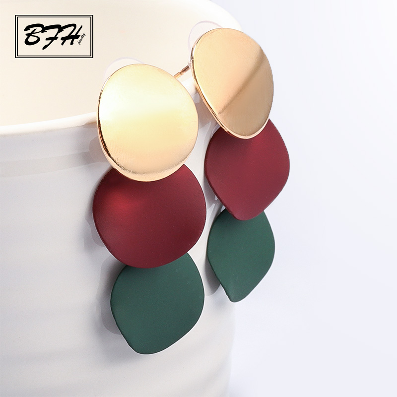 BFH Fashion Vintage ball Statement Drop Earrings for Women Geometric Unique Metal Hanging Dangle Earrings Jewelry Wholesale