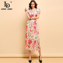 LD LINDA DELLA New Summer Fashion Dress Womens Lantern Sleeve Floral Printed Collect Waist Elegant Casual Holiday Long Dresses