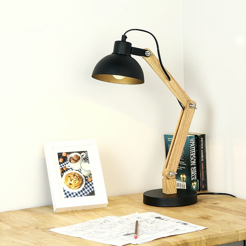 Nordic desk lamp real wood desk lamp black white creative desk light nordic desk lamp real wood desk lamp black white creative desk light can be adjusted free shipping ems in desk lamps from lights lighting on aloadofball Choice Image