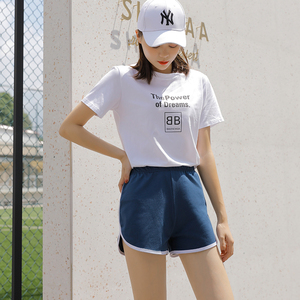 Image 3 - WSFS летние шорты женские хлопковые сексуальные фитнес в полоску Короткие хлопковые с высокой талией джинсовые байкерские спортивные Harajuku обтягивающие шорты Горячие Брюки