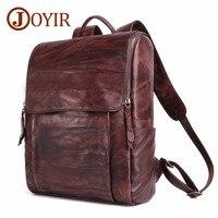 Для мужчин из натуральной кожи рюкзак мужской Винтаж повседневный рюкзак для ноутбука Для мужчин Дорожная сумка Daypacks Высокое качество Рюкз