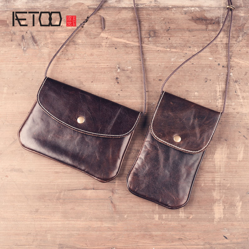 2017 new winter retro handmade leather first layer of leather mini messenger bag small bag handbag shoulder bag phone package famous brand top leather handbag bag 2018 new big bag shoulder messenger bag the first layer of leather hand bag