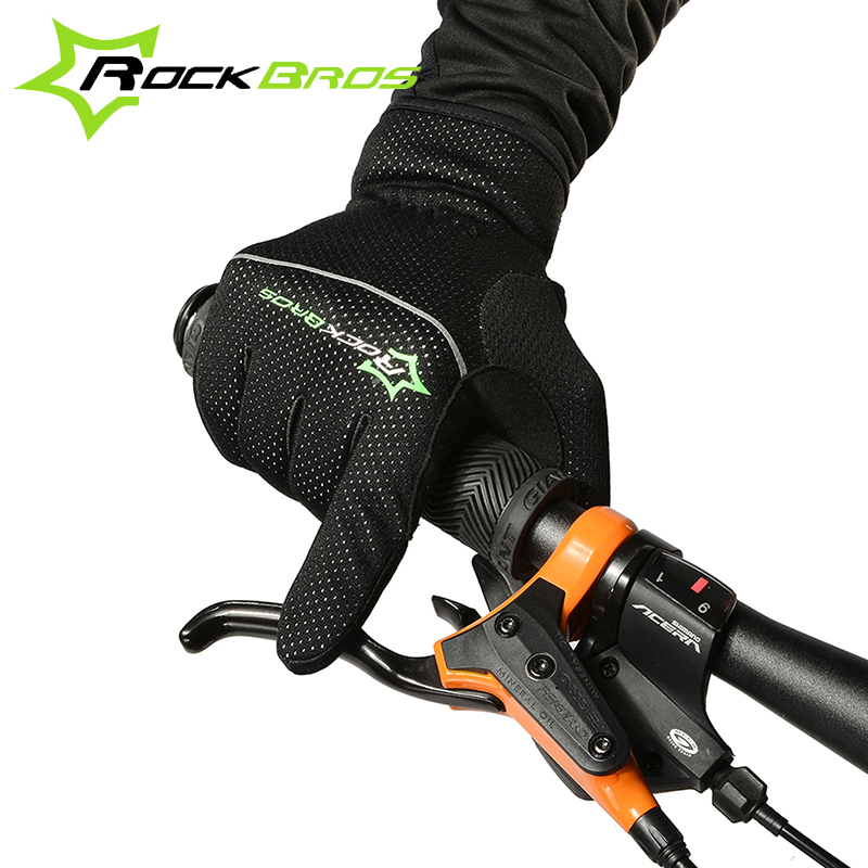 ROCKBROS Winter Thermal Cycling Gloves Bike Gloves Windproof Bicycle Gloves Touch Screen Outdoor Sports Full Finger Gloves