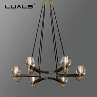 Luxurious Copper Suspension Luminaire Loft Hanging Lamp Crystal Pendant Lights Superior Villa Pendant Light LED Art