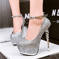 Women High Platform Party Shoes Fashion Rivet Buckle Stripe Sequined Cloth Shallow High Heels Women's Shoes Black Gold Silver