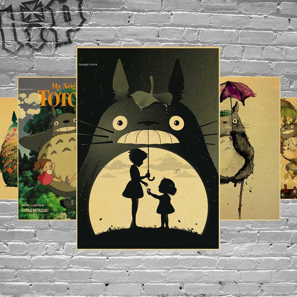 Póster De Anime De vecino Totoro Adesivo De Parede Hayao Miyazaki papel Kraft pintura decorativa Vintage