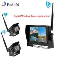 Podofo автомобильный Разделенный экран заднего вида монитор цифровой беспроводной ИК камеры резервного копирования для грузовиков/Автобусов