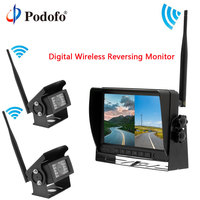 Podofo Car Split Screen RearView Reversing monitor Digital Wireless IR Backup Cameras for Truck /Bus/Caravan/Trailers/Harvester