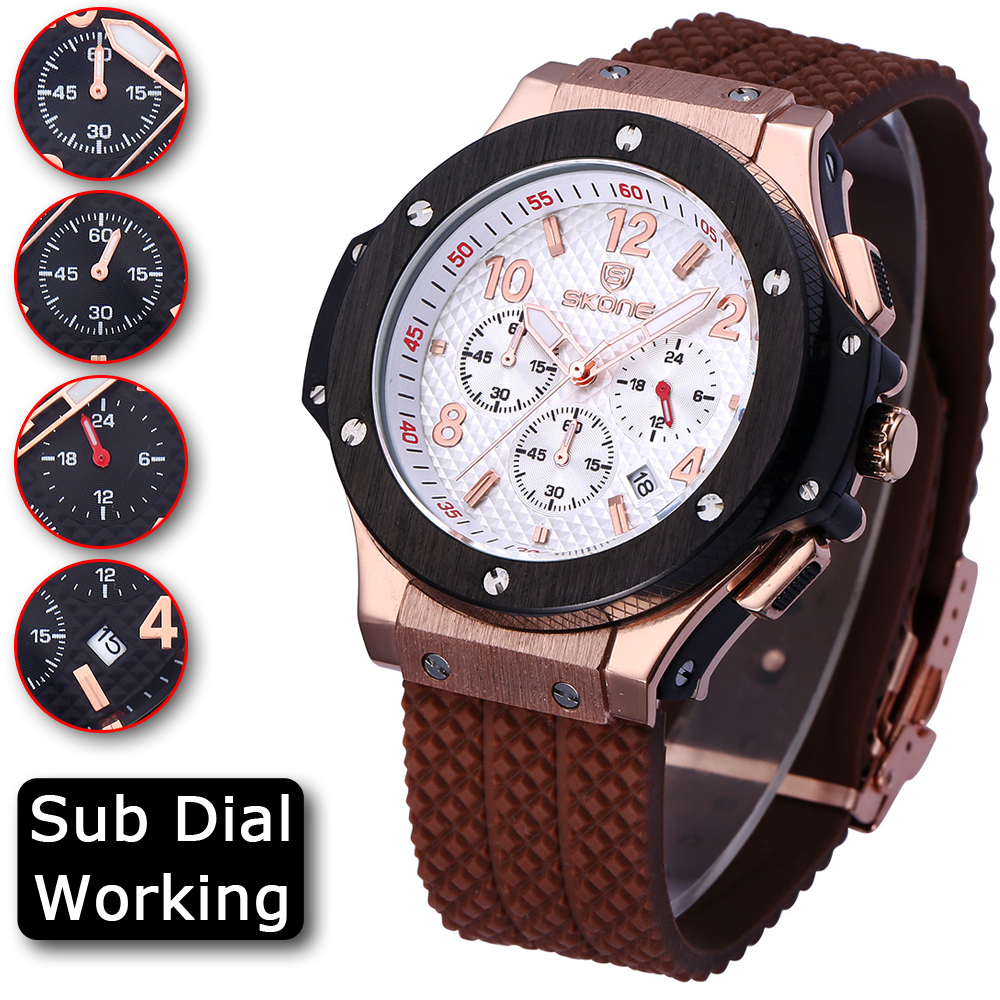 2017 SKONE CHRONOGRAPH Sport Function Mens Watches Top Brand Luxury Silicone Watches Men Megir Male Quartz Watch Erkek Kol Saati megir clock men relogio masculino top brand luxury watch men leather chronograph quartz watches erkek kol saati for male