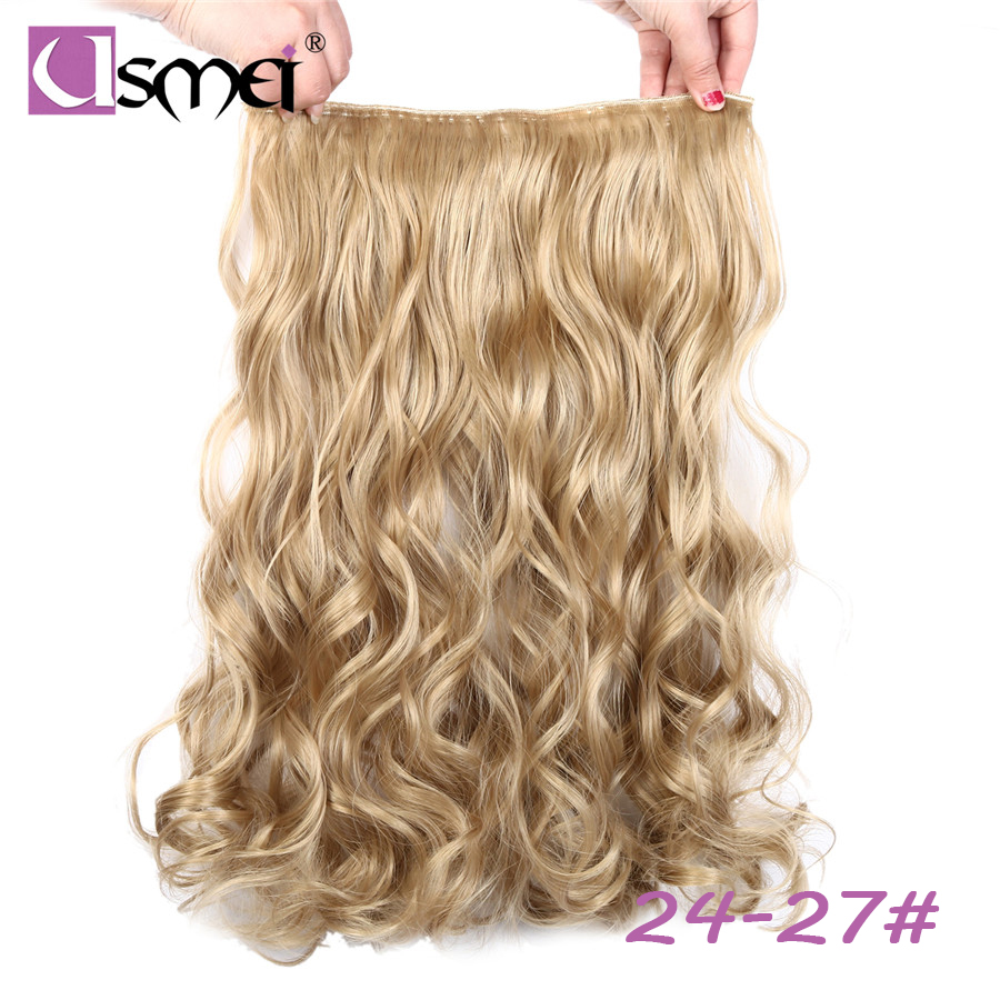USMEI 5 Clips One Piece Multi Color Long Body Wave Synthetic Clip-in Extensions False Faux Hair Extension Clip Natural