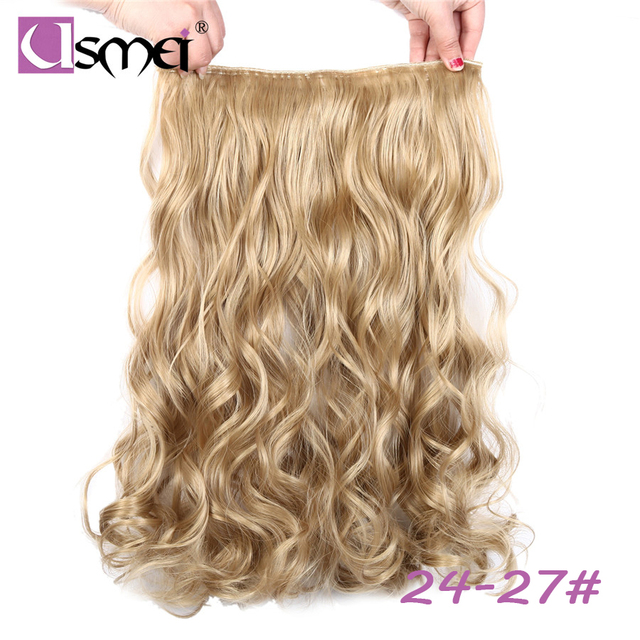 Usmei 5 Clips One Piece Multi Color Long Body Wave Synthetic Clip In