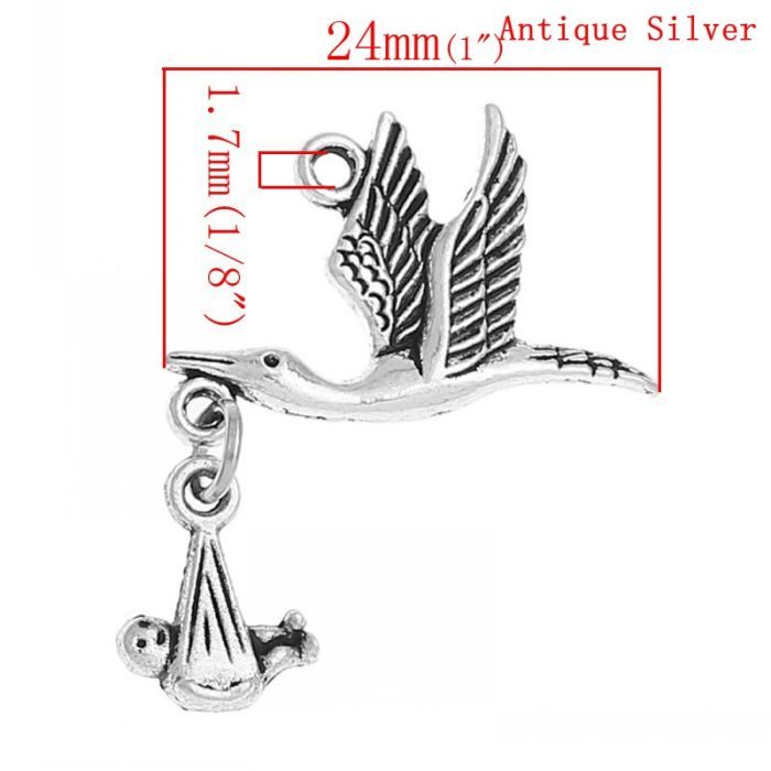 "DoreenBeads 20PCs Antique Silver Flying Stork W/Dangling Baby in Bundle Charm Pendants 29mm x24mm(1 1/8"" x1"")"