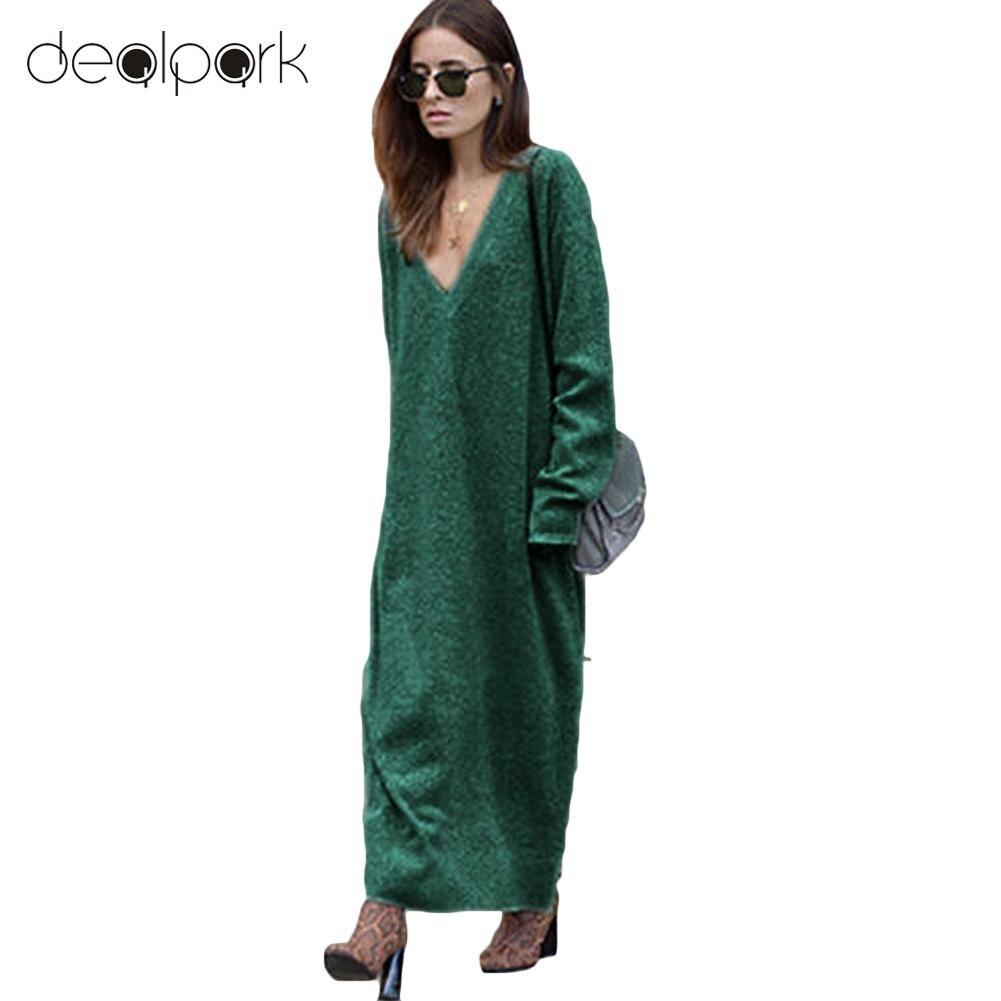 Spring Winter Women Knitted Sweater Dress Maxi Loose Deep V Neck Long Sleeve Ladies Knitwear Casual Jumper Long Dress female semi formal summer dresses