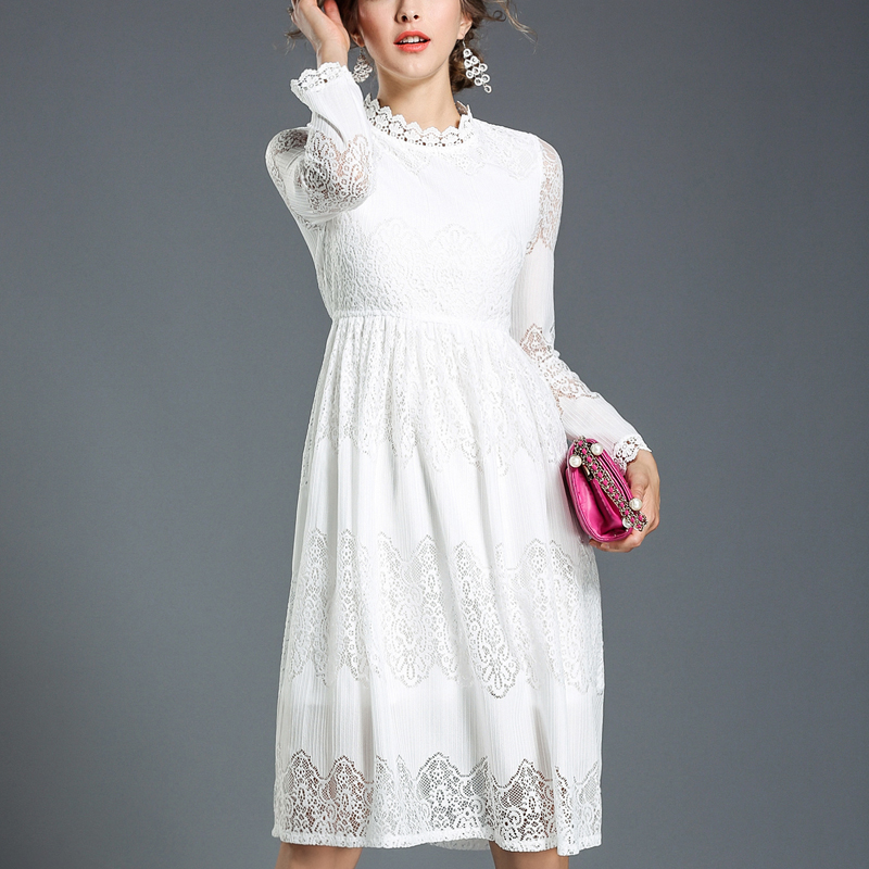 White lace dress with sleeves h&m