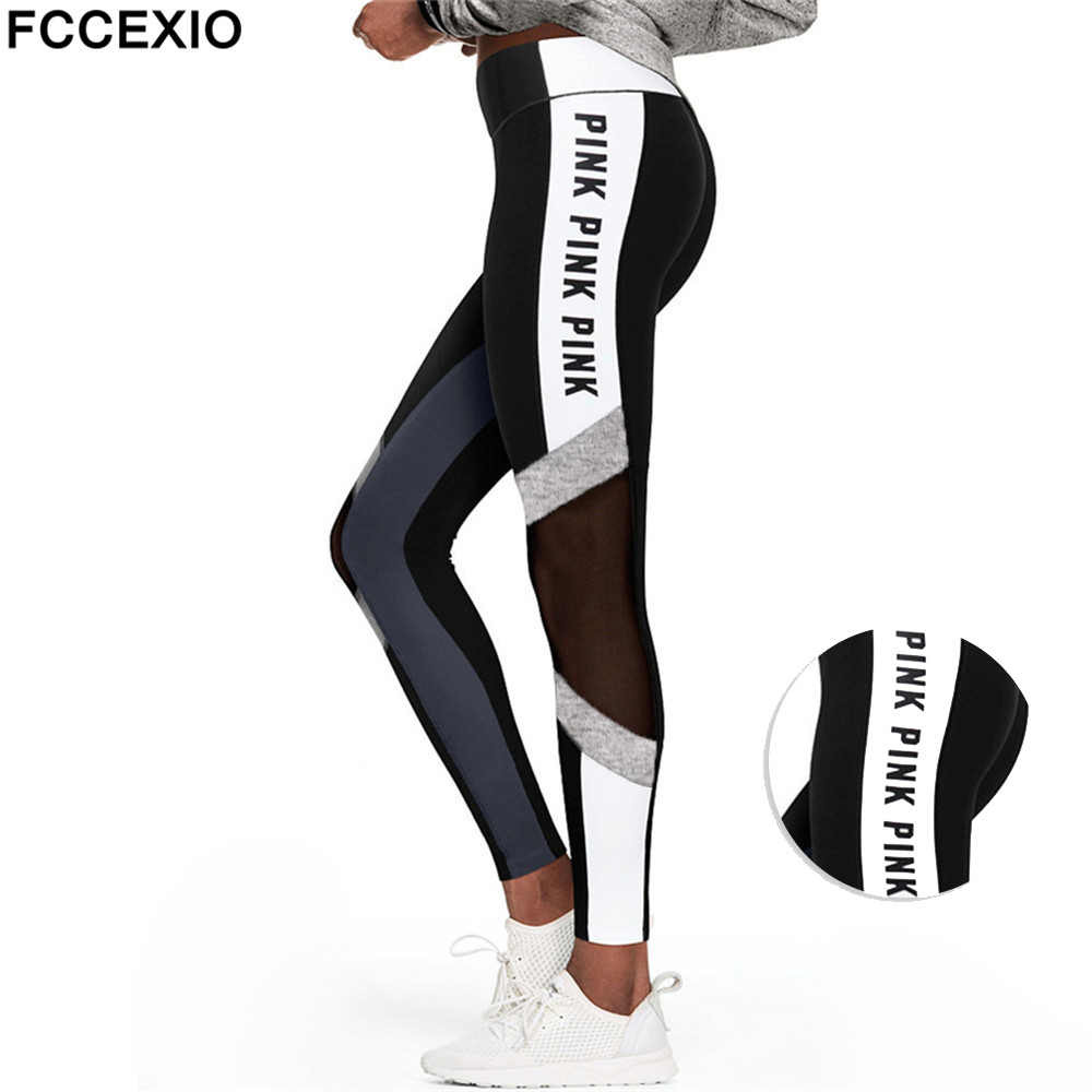 Fccexio 2020 Phụ Nữ Yêu Thích Hồng In Chữ Tập Luyện Quần Legging Nữ Cao Cấp Trơn Hồng Slim Thể Dục Quần Legging Thể Thao Legging