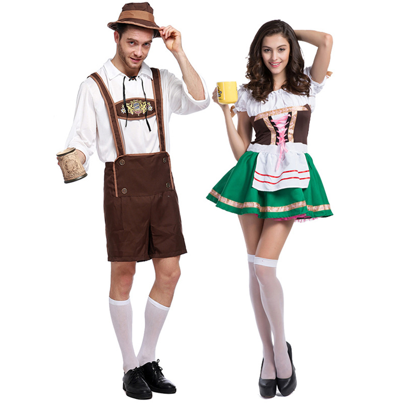 Oktoberfest Bavarian Beer Costume Adult German Beer Service Fancy Dress Beer Guy Costume Beer Maid Wench Uniform Couple Costumes