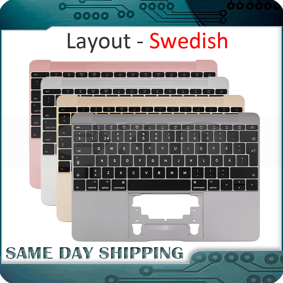 Gold/Gray Grey/Silver/Rose Gold Color for Macbook 12'' A1534 Swedish Sweden Keyboard w/ Topcase 2015 2016 2017 Years
