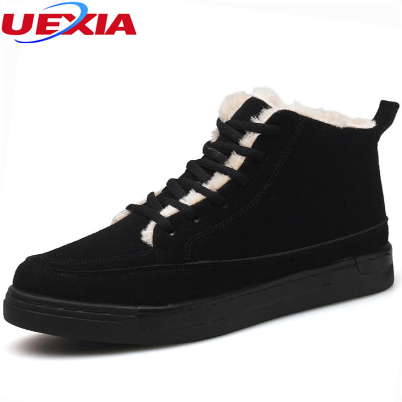 UEXIA Shoes Men Boots Winter Botas Hombre Fur Men Shoes Lace Up Warm Snow Ankle Boots For Men Fashion Winter Shoe Footwear Plush classic women winter boots suede ankle snow boots female warm fur plush insole high quality botas mujer lace up footwear b901w