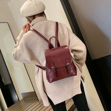 Vintage Lady Backpack Korean Oil Wax Leather Backpack Fashion Drawstring School Backpack Girl Buckle Travel Bag цена 2017