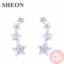 где купить SHEON Authentic 100% 925 Sterling Silver Dazzling Stackable Star White CZ Stud Earrings for Women Sterling Silver Jewelry Bijoux по лучшей цене