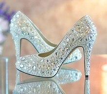 2016 Gorgeous And Fashion white high heel wedding dress shoesbridal dress shoes platform glitter rhinestone Formal Shoes