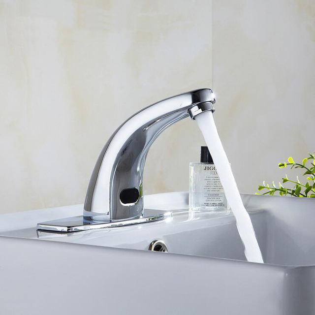 Bathroom Copper Automatic Sense Wash Hand Faucet Chrome Plated, Kitchen  Brass Infrared Sense Water Tap