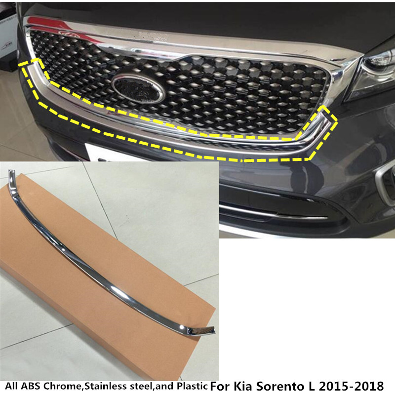 For Kia Sorento L 2015 2016 2017 2018 car style ABS chrome front engine Machine grille upper hood stick lid trim lamp hoods 1pcs