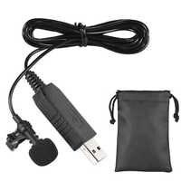 USB Microphone Portable Mini Stereo Clip-on lapel mic lavalier microphone condenser Microphone for computer PC karaoke studio