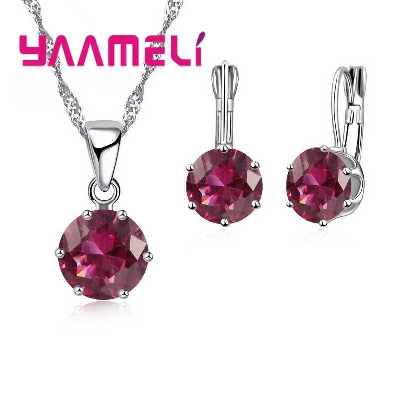 Erklärung Schmuck Sets 925 Sterling Silber Candy Farbe Zirkonia Anhänger Halskette Ohrring Hochzeit Zubehör