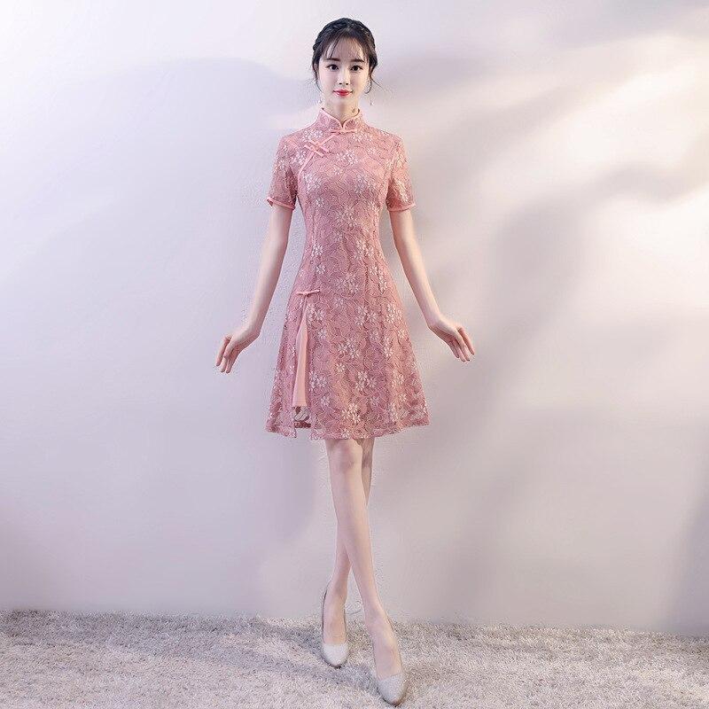 New Arrival Chinese Style Lace Dress Women Slim Short Qipao Mandarin Collar Short Sleeve Cheongsam Size S M L XL XXL bar iii new bright white women s size large l mesh sleeve inset shift dress $79