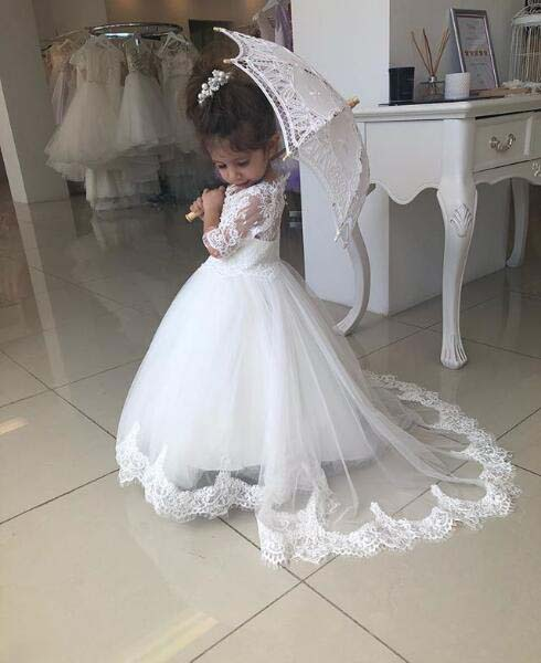 Vintage beige lace appliques half sleeves ball gown toddler kids holy the first communion gowns flower girl dresses with train