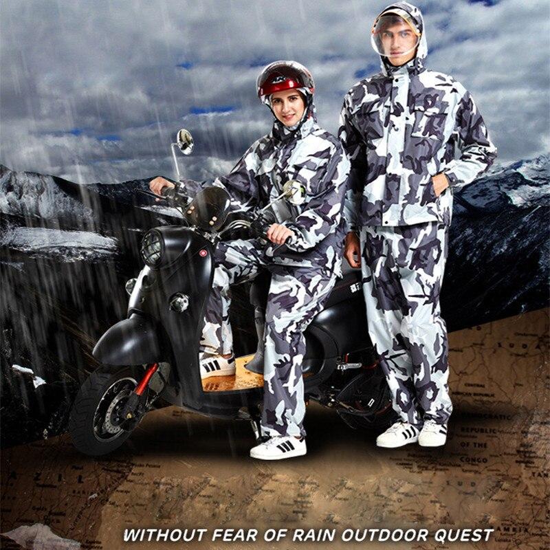 Camouflage Scission Imperméable Pantalon de Pluie Costume Adultes Moto Vélo Épaississent Étanche Imperméable Femmes Hommes Combinaison De Pluie Manteau de Pluie