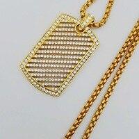 Hip hop Mens Voller Iced Out Strass Gold Silber Farbe Leeres Quadrat Hundemarke Anhänger 3mm * 24