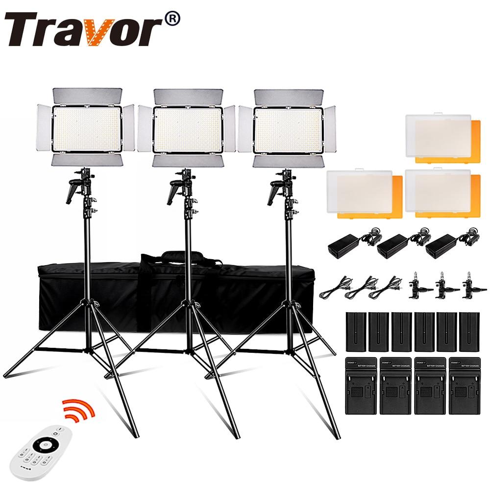 Travor 600 pcs luz do dia led luz de vídeo Estúdio luz 3200 K 5500 k 75 W fotografia iluminação com 2.4G controle remoto sem fio e youtube