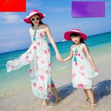 2016 новый родитель — ребенок наряд сарафан и длинные dressBohemian пляжный отдых платье без рукавов шифоновое платье