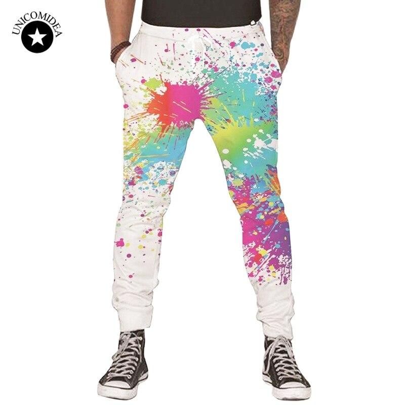 Casual Mens Pants Sportswear Trousers Graffiti Painting White Track Pants Joggers Sweatpants Hip Hop Pantalon Hombre Streetwear