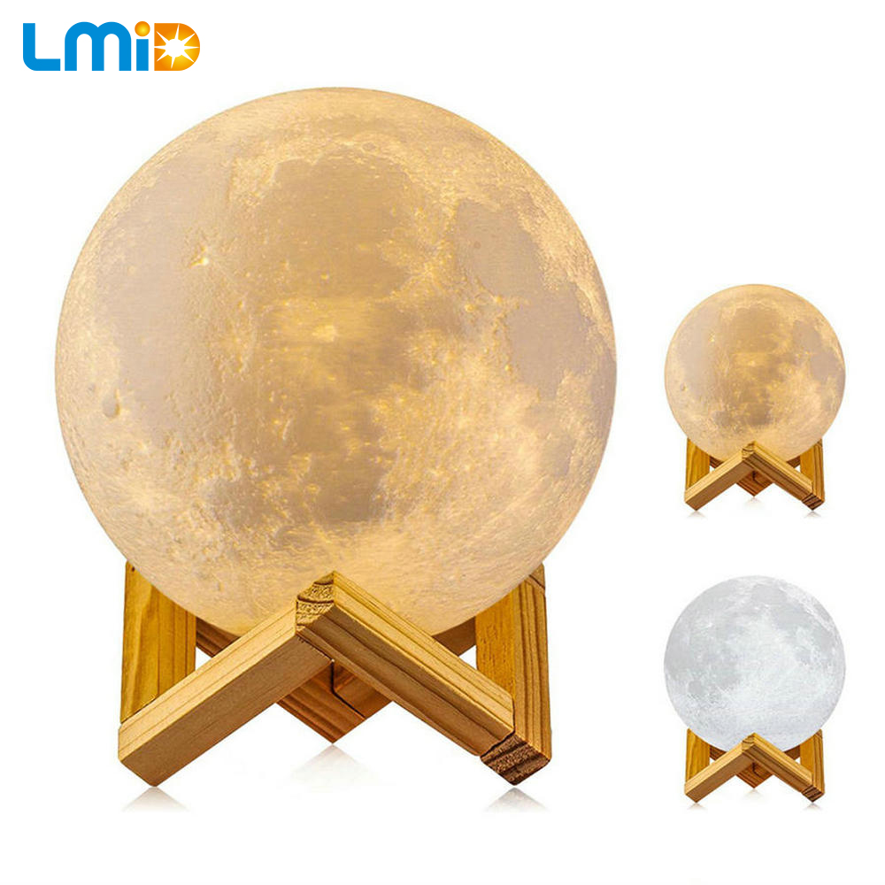 LMID Rechargeable Night Light Color Change 3D Print Light Touch Switch 3D Moon Lamp Bedroom Bookcase Moon Lamp Creative Gifts