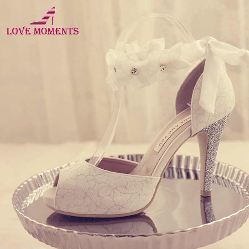 Peep-toe Lady Formal Dress Shoes Women High-heeled Shoes Beautiful White Lace Wedding Bridal Party Prom Shoes Pageant Pumps