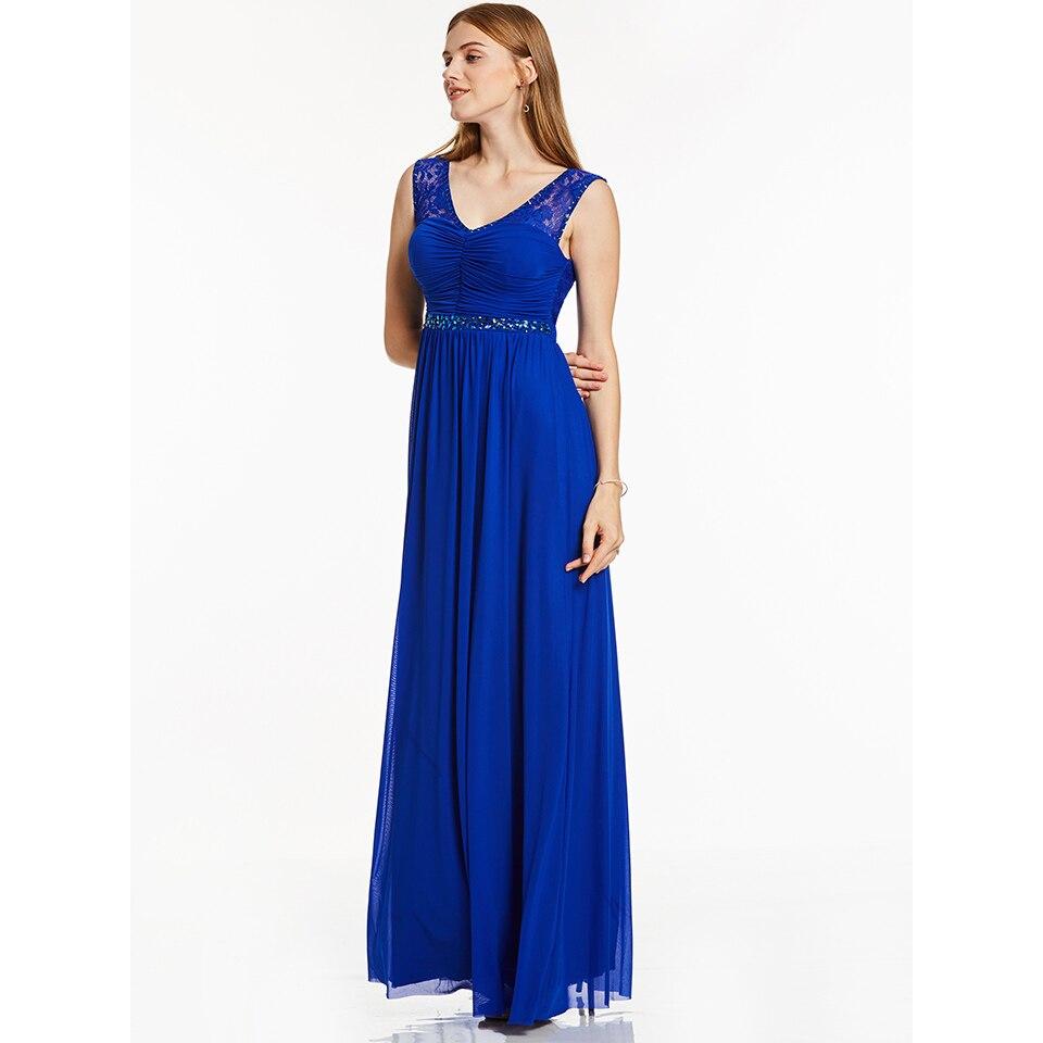 Dressv Royal Blue Long Evening Dress Cheap V Neck Sleeveless Beading Wedding Party Formal Dress A Line Evening Dresses