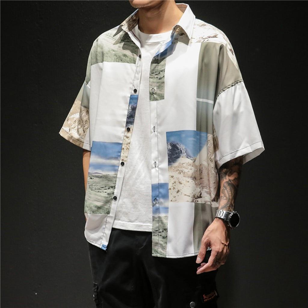 Рубашка мужская уличный с короткими рукавами рубашка мужская новая стильная модная Ретро рубашка с коротким рукавом удобные рубашки с прин...