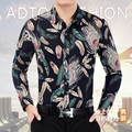 Arrivals 2017 Men's Spring Casual Printed Shirt Youth Slim Blouse Male Cotton Floral Shirt Men's Clothing Plus Size 7XL