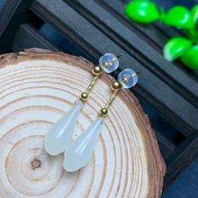 SHILOVEM 18k yellow gold Natural white Jasper drop earring  classic fine Jewelry women wedding gift 6.5*16mm myme6.51699hby