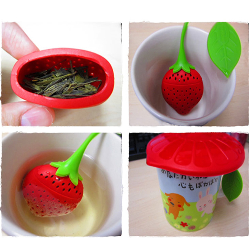 Lovely Fruit Strawberry Shape Silicone Gel Tea Herbal Spices Leaf Infuser Strainer Coffee & Tea Tools
