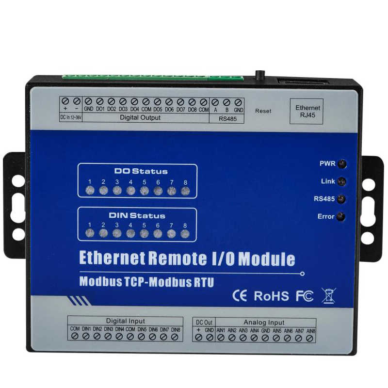 Ethernet Remote I/O Module 8 optical-isolated digital inputs 4 digital outputs Support high speed pulse counter RS485 interface