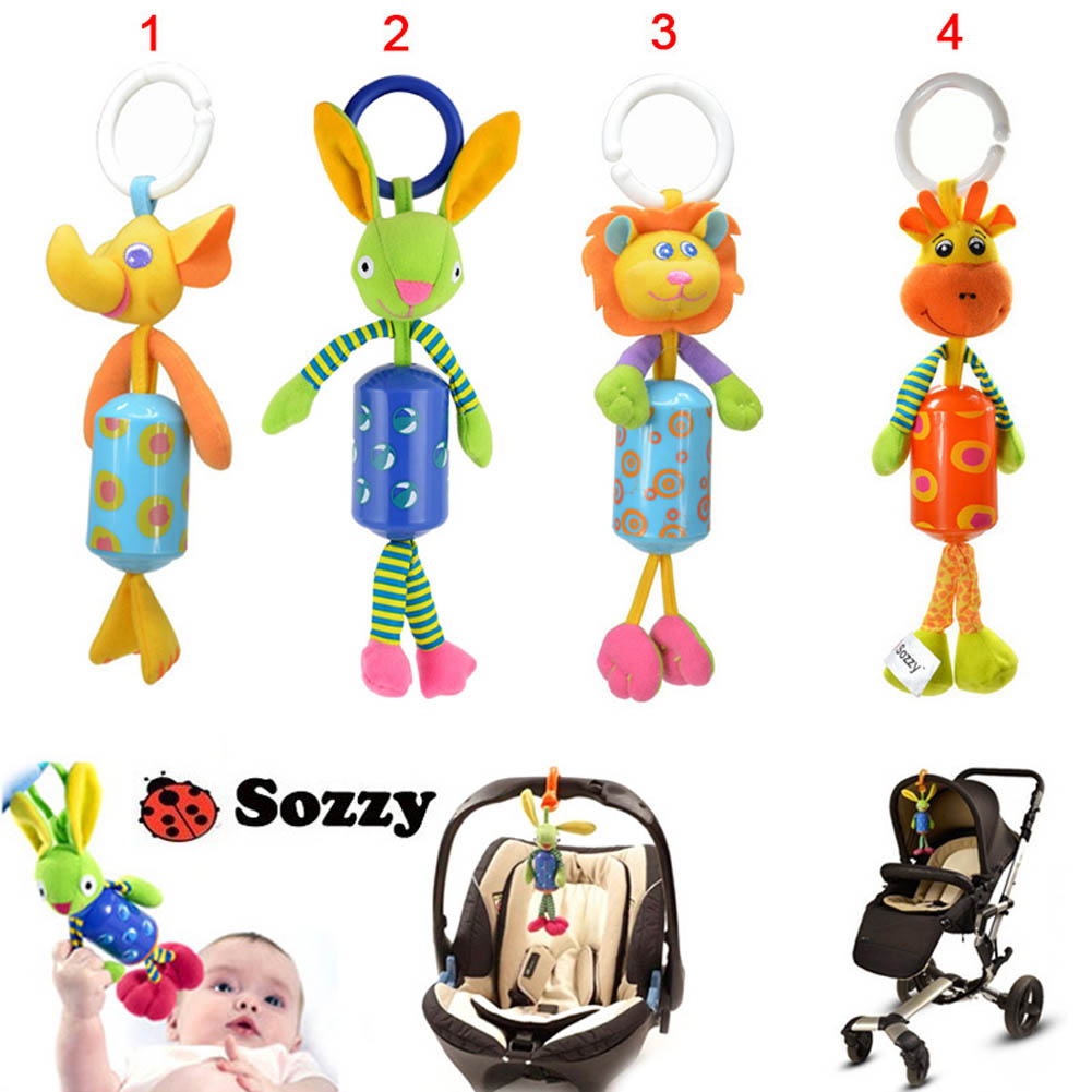 Sozzy Cute Animal Baby Ratlle Toy Baby Mobile Bed Hanging Wind Chimes Ring Bell Plush Dolls Toys BM88